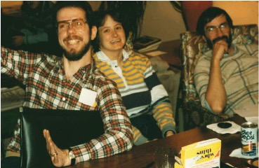 Mark Palermo (left) with former LPPC Seminary Assistant Lisa Bove, and David Sindt, at a PLGC Chicago meeting, 1985.