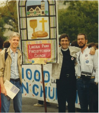 Barry Smith, former LPPC Parish Associate Stuart Smith, and Mark Palermo (right) proudly carrying the LPPC Banner at the March on Washington for Lesbian/Gay Rights, 1987.